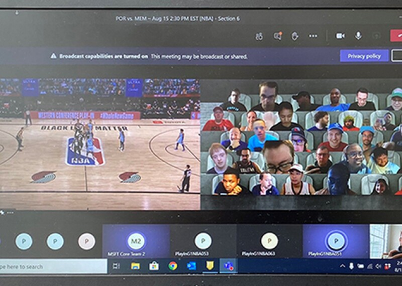 A behind-the-scenes view of the NBA virtual fan experience on Microsoft Teams.