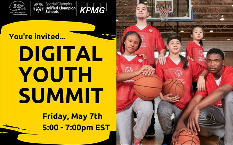 "Five students pose on a basketball court with Special Olympics jerseys and basketballs in hand. The graphic reads ""You're Invited...Digital Youth Summit, Friday May 7th, 5:00-7PM ET."""