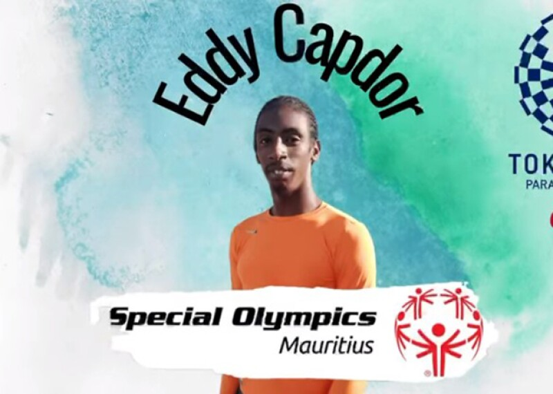 Photo of Eddy Capdor posed for promo picture to represent Special Olympics and Paralympics. Text reads: Eddy Capdor, Special Olympics Mauritius, Tokyo 2020 Paralympic Games.