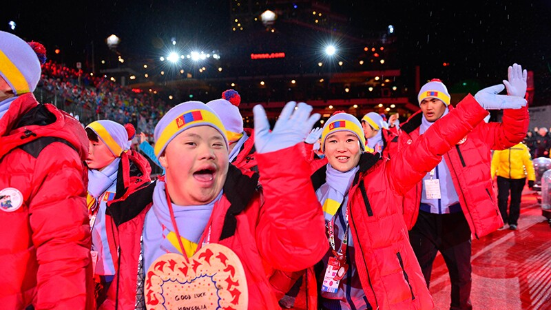 Athletes during the opening celebration for the games.