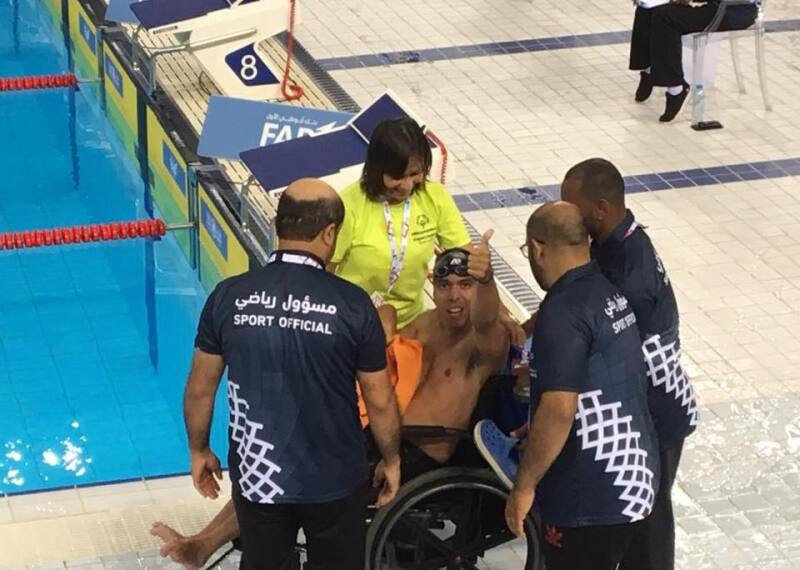 Aquiles at poolside after his silver-medal winning swim in the 25m breaststroke