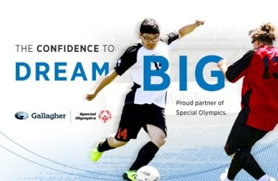 Athlete kicking a ball. Text reads: The confidence to dream big