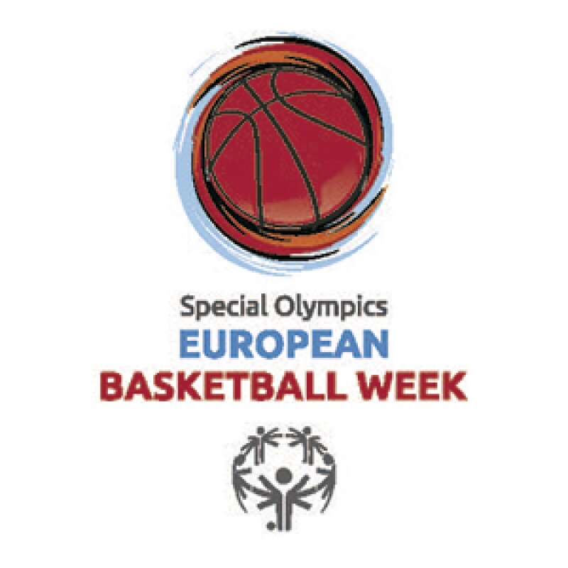 Special Olympics European Basketball Week logo. Illustration of a basketball spinning in motion followed by text: Special Olympics European Basketball Week. Under the text is the Special Olympics logo.