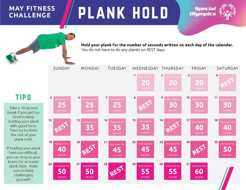 May Fitness Challenge Plank Hold calendar. Athlete in the top left holding a plank and a calendar of May 2019 takes up the rest of the image.