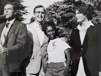 George Bush hugging Loretta Claiborne at the White House