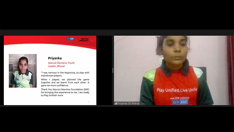 """a screenshot of Priyanka reading her message of thanks in a Zoom meeting. The PowerPoint by her side has a picture of her, and reads, """"I was nervous in the beginning, to play with the mainstream players. When I played, we planned the game together and we learnt from each other. It gave me more confidence. Thank you Stavros Niarchos Foundation for bringing this experience to me. I am ready to Play Unified more."""""""