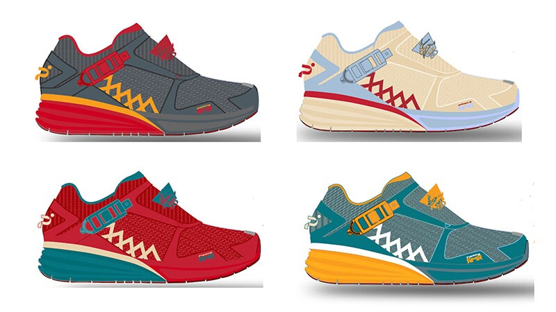 Four drawing of sample shoes with a special design in honor of the 2019 World Games in Abu Dhabi.