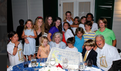 A photo of the Shriver family with Eunice Kennedy Shriver