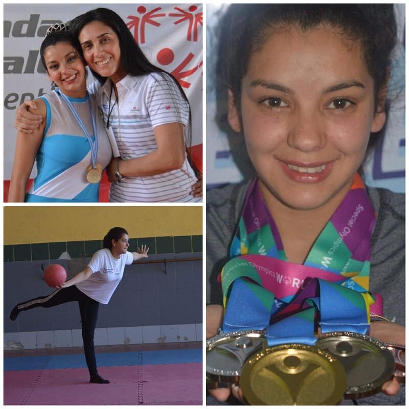 Mónica Giménez collage. Una foto la muestra practicando su rutina. Otra foto la muestra con su medallero. En otra foto posa con su entrenadora.