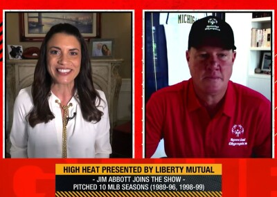 Screenshot of Jim Abbott's interview on MLB's High Heat.