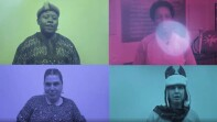 Four different athletes from around the world with different color filters over their images.