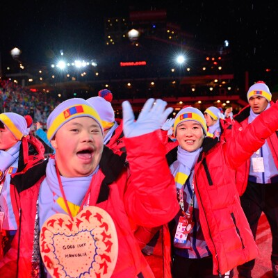 Mongolia delegation walking on the red carpet during opening ceremonies.