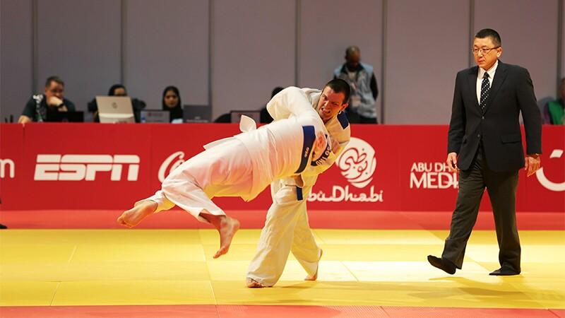 World Games Abu Dhabi 2019: judo athletes competing.