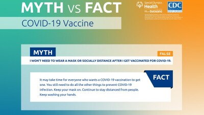 Separating fact from myth: Even after being vaccinated for COVID-19 it is still important to continue wearing a mask, social distancing, and washing your hands.