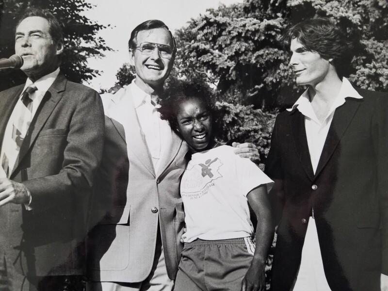 George Bush hugging Loretta Claiborne at the White House