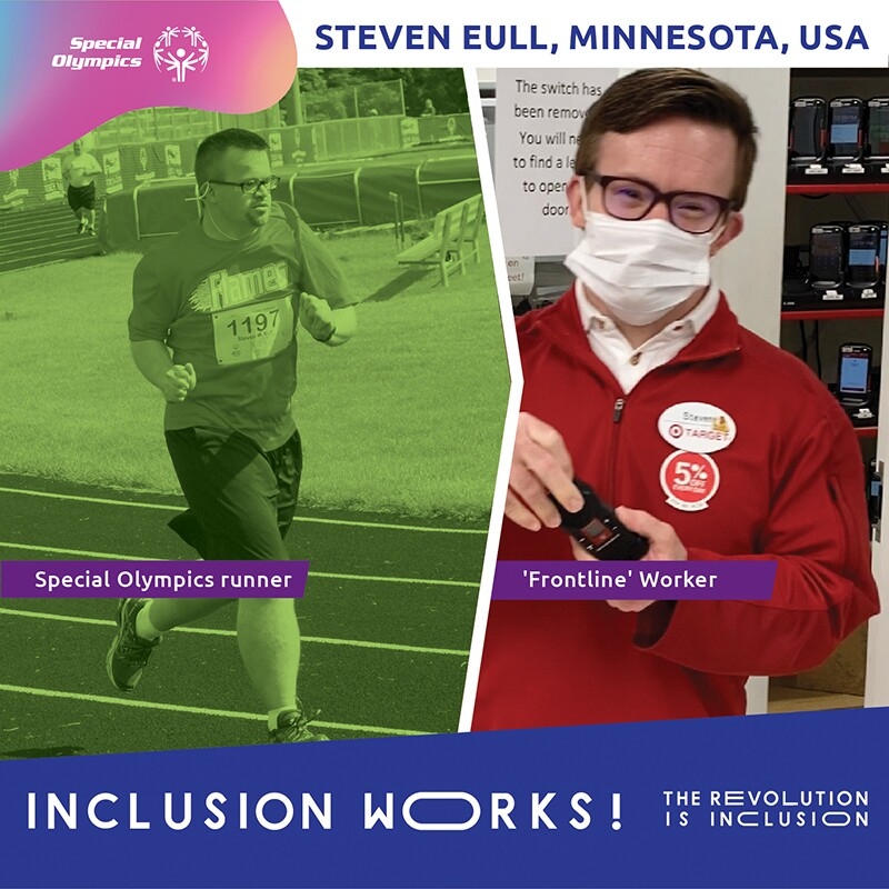 On the left is Steven running and on the right is Steven working at Target. Text at the bottom reads: Inclusion Works! The Revolution is Inclusion.