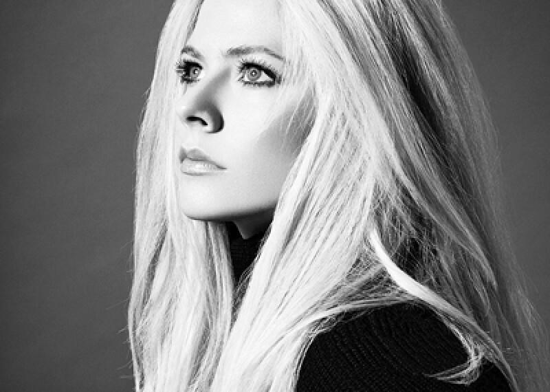 Avril Lavigne black and white professional profile photo.