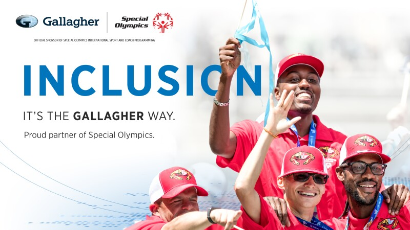Four individuals in all red waving and celebrating. Text on the ad reads: Gallagher | Special Olympics