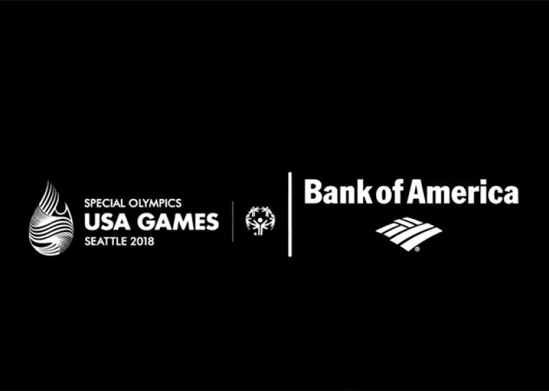 Special Olympics USA Games Seattle 2018 logo, Special Olympics logo, and Bank of America Logo all in white on a black background.