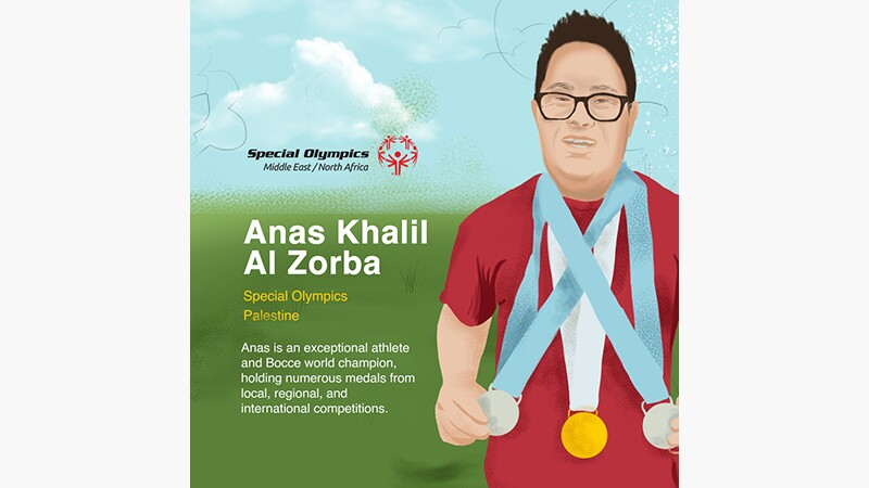Anas' story slide 1: Anas Khalil Al Zorba Special Olympics Palestine. Illustration of Alas with medals around his neck.