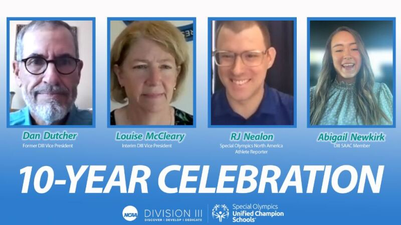 4 people appear on separate Zoom screens as they talk about the NCAA DIII and Special Olympics partnership.