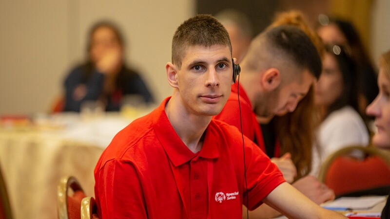 Goran Maric, a youth leader from Special Olympics Serbia at the Leadership Conference 2018.
