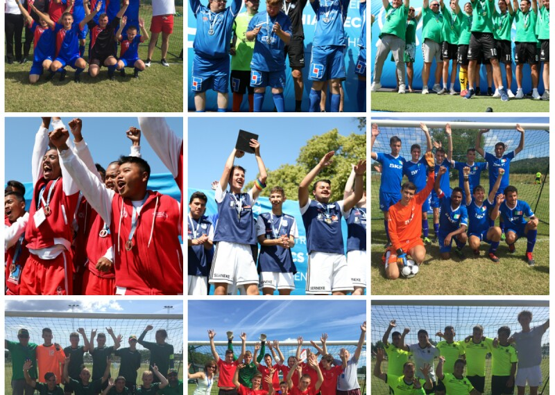 A collection of nine square photos in a collage together featuring football teams with their hands in the air in celebration.