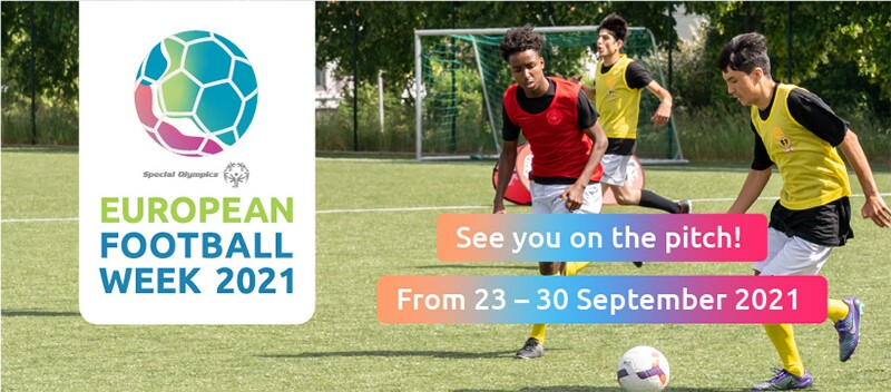 Photo of two boys wearing bibs and following a ball on a football pitch with one boy in the background. Branded graphics over the photo read 'European Football Week 2021. See you on the pitch from 23 to 30 September 2021'.