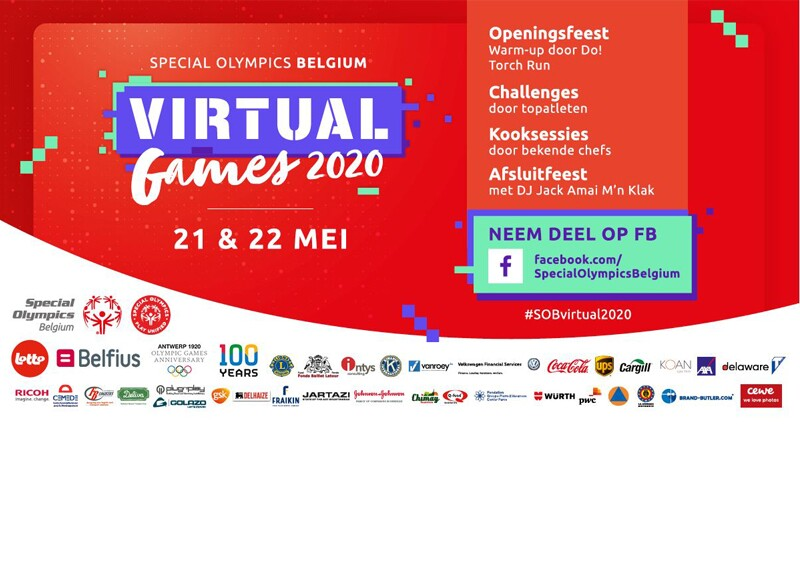 Text for Special Olympics Belgium games accompanied by logos