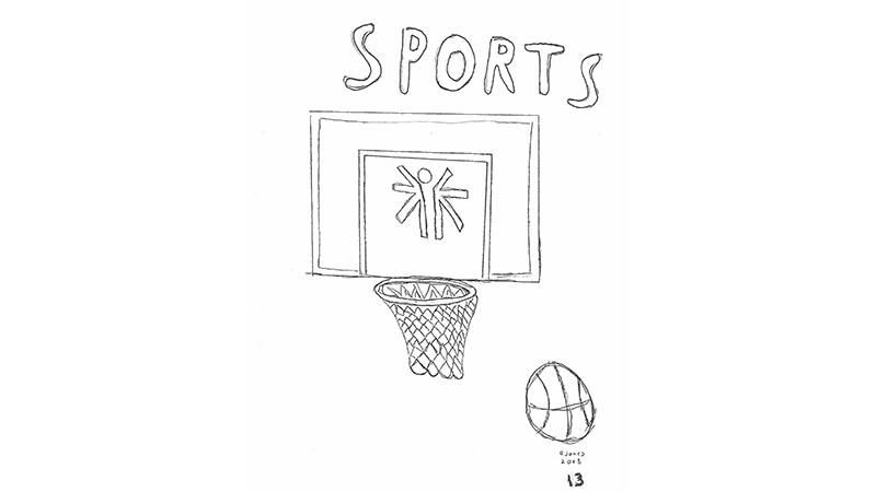 Bobby Jones hand drawn basketball illustration.