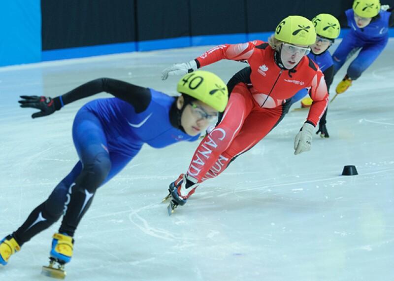 Short Track Speed Skating athletes racing during Special Olympics World Winter Games Pyeongchang 2013