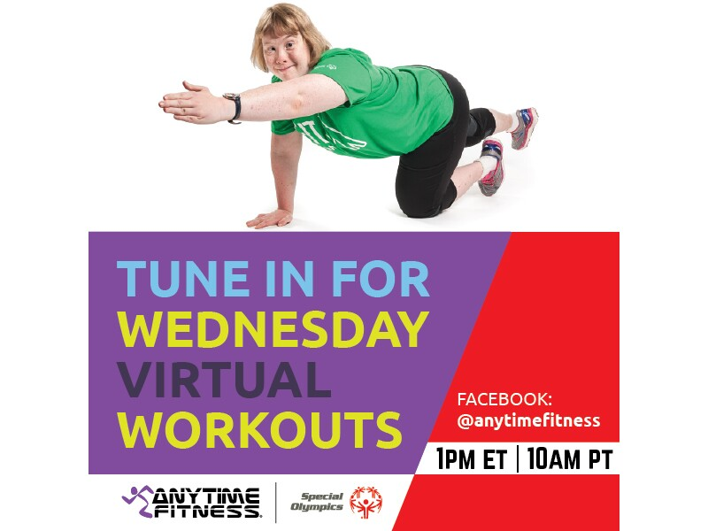 Tune in image for Anytime Fitness workouts: Facebook tune in 1pm ET| 10am PT