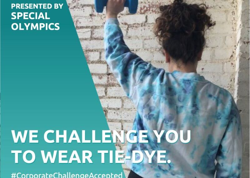 Athlete in tie-dye t-shirt. Text reads: Presented by Special Olympics | We Challenge you to wear tie-die.  #corporatechallengeaccepted | The Inclusion is Revolution (logo) and Special Olympics (logo)