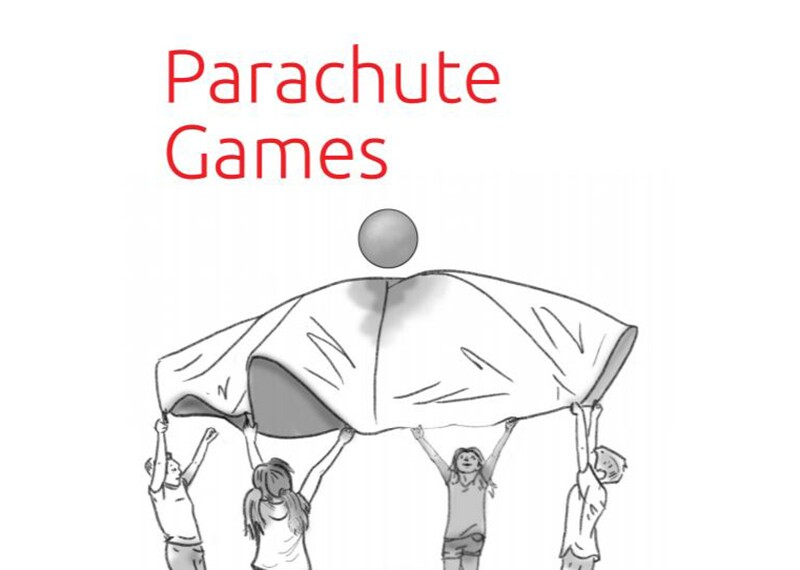 Illustration of children playing the parachute game.