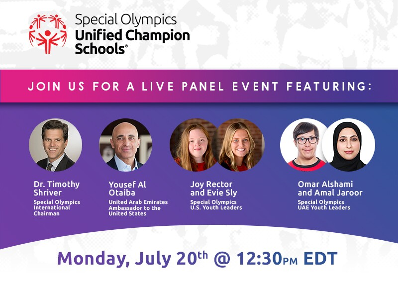 Header for the live Special Olympics Unified Champion Schools panel event happening July 20 at 12:30PM EDT.