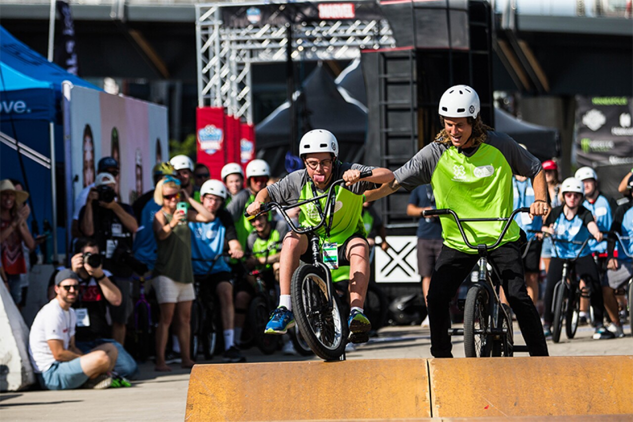 Teammates Jenny Anderson (SO Minnesota) and Kyle Baldock (10-time X Games medalist) get ready to show their stuff!