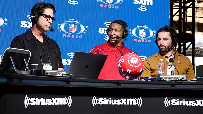 "NFL legend and SiriusXM host Ed McCaffrey interviews athlete Antrone ""Juice"" Williams and NFL quarterback Baker Mayfield of the Cleveland Browns."
