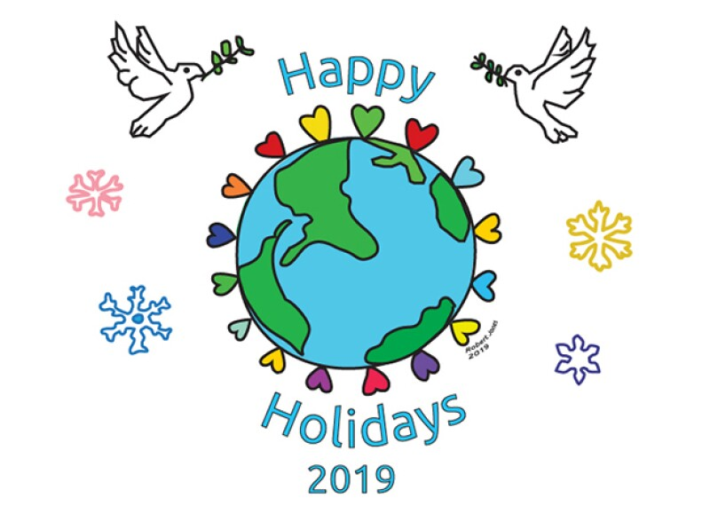 Special Olympics holiday card with two doves on either side of an illustration of the earth and it read: Happy Holidays 2019