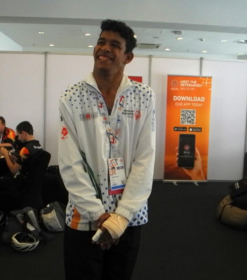 India athlete Abhishek Gogoi smiling for the camera
