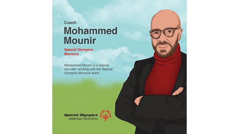 Mohammed Mounir's illustrated story: an illustrated Mohammed standing in a red turtle neck and black blazer.