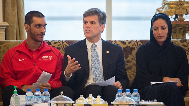 Timothy Shriver talks during a meeting.