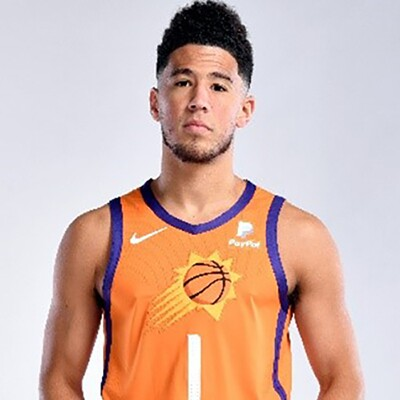 Devin Booker in his Phoenix Suns jersey.
