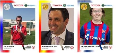 European Football Week 2020 cards featuring Joe McKenzie, David Evangelista, and Suzanne van den Einden