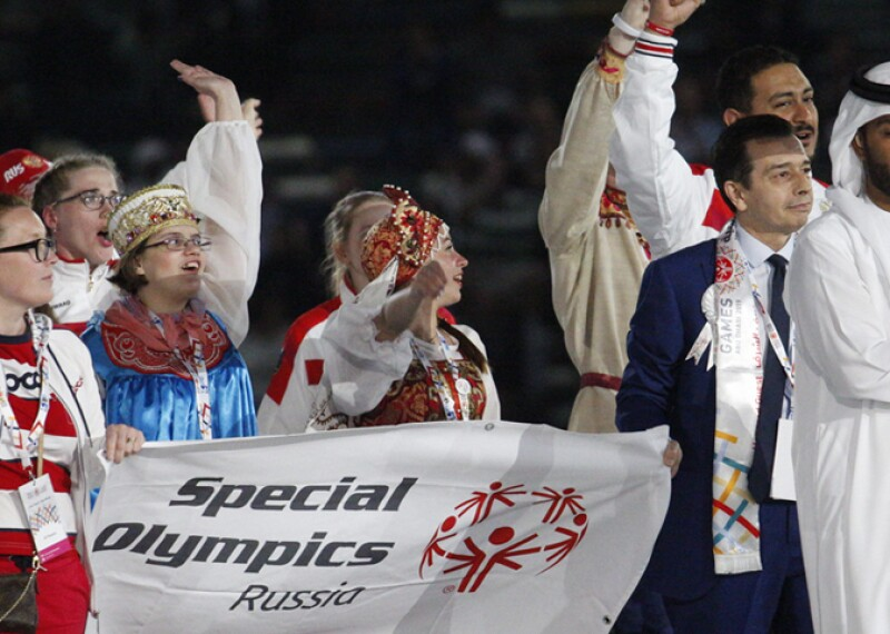 Russia delegation walking into the area on stage at the Special Olympics World Games Abu Dhabi 2019.