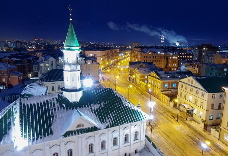 Night picture of Mardjani Mosque in Kazan, Russia.