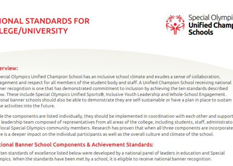 Screen capture image of the College Standards PDF