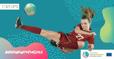 A cut-out of a girl jumping in the air to kick a ball with a colourful graphic background.