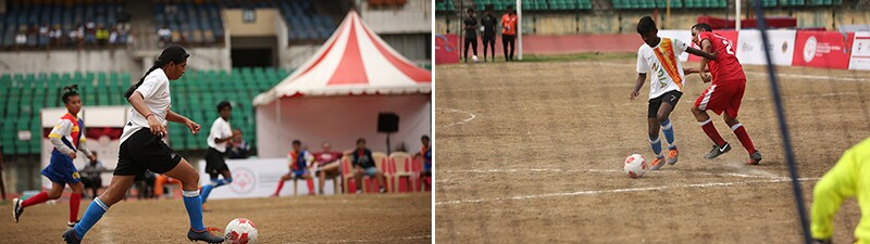 Female and male teams compete during Special Olympics International Football Championship.