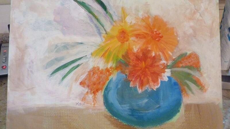 Lani De Mello Painting Pot of Flowers.