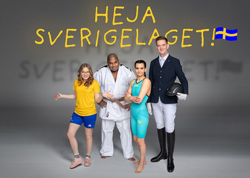 Four athletes in the foreground with text behind them that reads: Heja Sverigelaget! with an illustration of the Swedish National Flag.